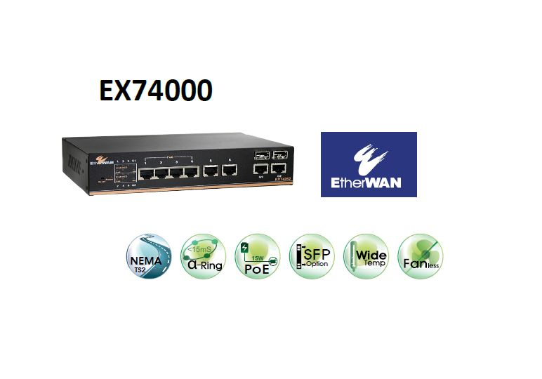 EX74000 SERİSİ  Hardened Managed 6-port 10/100BASE (4 x PoE) with 2-port SFP (DDM) Gigabit combo Ethernet Switch