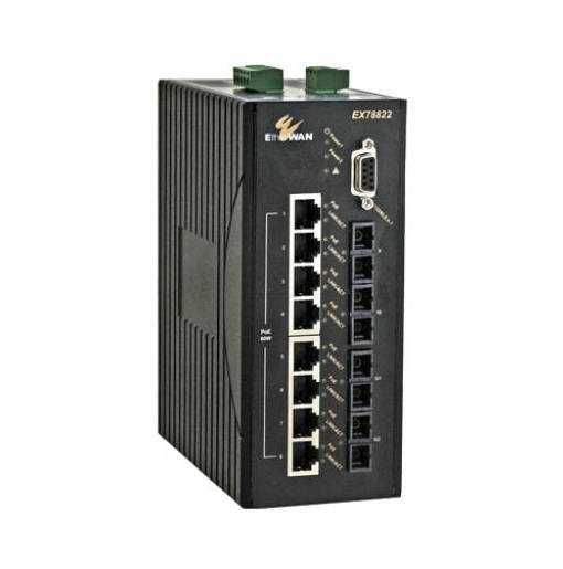 EX78000 Serisi 10-port 10/100BASE (8 x PoE) +2-port Gigabit Hardened Yönetilebilir Ethernet Switch